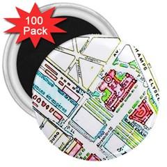 Paris Map 3  Magnets (100 Pack)