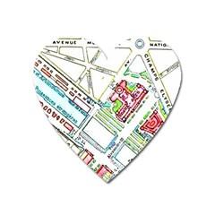 Paris Map Heart Magnet