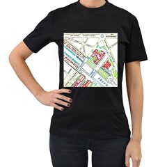 Paris Map Women s T-Shirt (Black) (Two Sided)