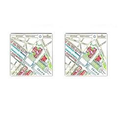 Paris Map Cufflinks (Square)