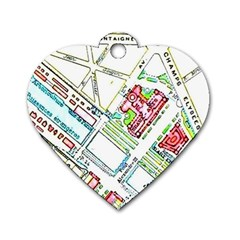 Paris Map Dog Tag Heart (Two Sides)