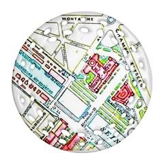 Paris Map Ornament (round Filigree)