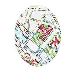 Paris Map Oval Filigree Ornament (Two Sides)