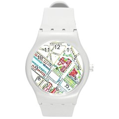 Paris Map Round Plastic Sport Watch (M)