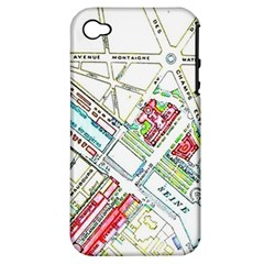 Paris Map Apple iPhone 4/4S Hardshell Case (PC+Silicone)
