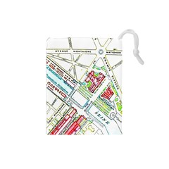 Paris Map Drawstring Pouches (Small)