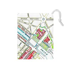 Paris Map Drawstring Pouches (Medium)