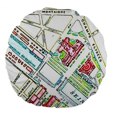Paris Map Large 18  Premium Flano Round Cushions
