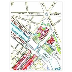 Paris Map Drawstring Bag (large)