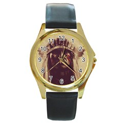 Indian Round Gold Metal Watch