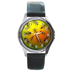 Insect Pattern Round Metal Watch