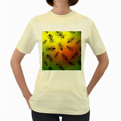 Insect Pattern Women s Yellow T-Shirt
