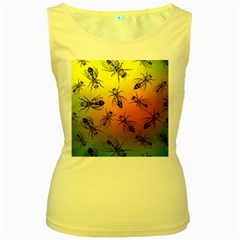Insect Pattern Women s Yellow Tank Top