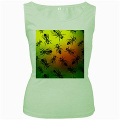 Insect Pattern Women s Green Tank Top