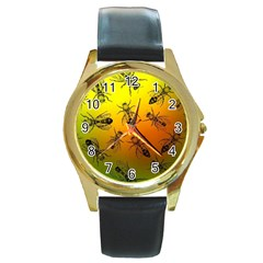 Insect Pattern Round Gold Metal Watch