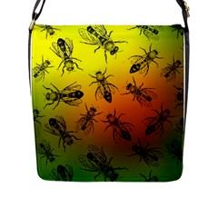 Insect Pattern Flap Messenger Bag (L)