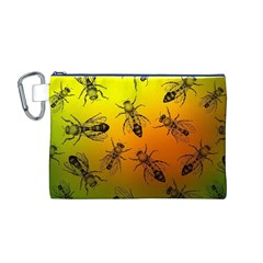 Insect Pattern Canvas Cosmetic Bag (M)