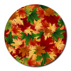 Autumn Leaves Round Mousepads