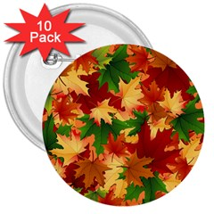 Autumn Leaves 3  Buttons (10 Pack)
