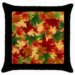 Autumn Leaves Throw Pillow Case (Black)