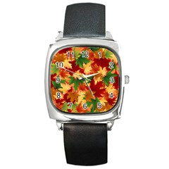 Autumn Leaves Square Metal Watch
