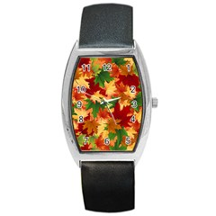 Autumn Leaves Barrel Style Metal Watch