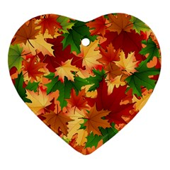 Autumn Leaves Heart Ornament (Two Sides)