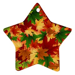 Autumn Leaves Star Ornament (two Sides)