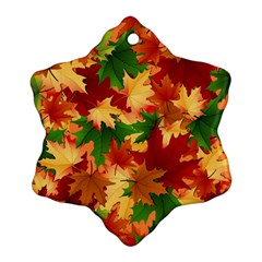 Autumn Leaves Snowflake Ornament (two Sides)