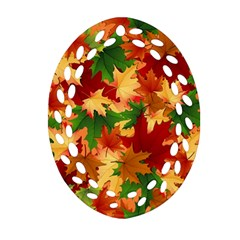 Autumn Leaves Oval Filigree Ornament (two Sides)