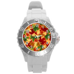 Autumn Leaves Round Plastic Sport Watch (l)