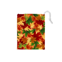 Autumn Leaves Drawstring Pouches (Small)