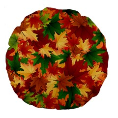 Autumn Leaves Large 18  Premium Flano Round Cushions