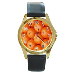 Orange Fruit Round Gold Metal Watch