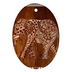 Elephant Aztec Wood Tekture Ornament (Oval)