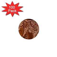 Elephant Aztec Wood Tekture 1  Mini Buttons (100 pack)
