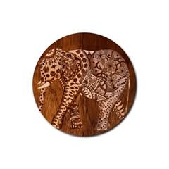 Elephant Aztec Wood Tekture Rubber Coaster (round)