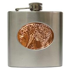 Elephant Aztec Wood Tekture Hip Flask (6 oz)
