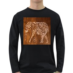 Elephant Aztec Wood Tekture Long Sleeve Dark T-Shirts