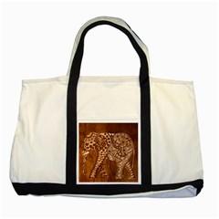 Elephant Aztec Wood Tekture Two Tone Tote Bag