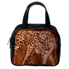Elephant Aztec Wood Tekture Classic Handbags (One Side)
