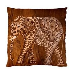 Elephant Aztec Wood Tekture Standard Cushion Case (one Side)
