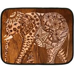 Elephant Aztec Wood Tekture Fleece Blanket (mini)