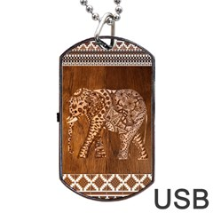 Elephant Aztec Wood Tekture Dog Tag Usb Flash (two Sides)