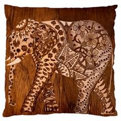 Elephant Aztec Wood Tekture Large Cushion Case (One Side)