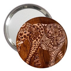 Elephant Aztec Wood Tekture 3  Handbag Mirrors