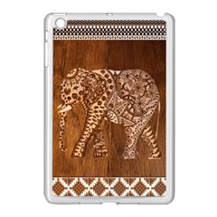 Elephant Aztec Wood Tekture Apple Ipad Mini Case (white)