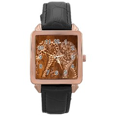 Elephant Aztec Wood Tekture Rose Gold Leather Watch