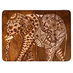 Elephant Aztec Wood Tekture Samsung Galaxy Tab 7  P1000 Flip Case