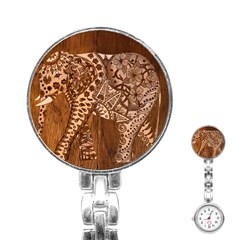 Elephant Aztec Wood Tekture Stainless Steel Nurses Watch